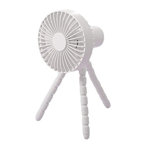 MYhose Ventilador de refrigeración Ventilador de Clip con batería Recargable de 1800 mAh USB de 3 velocidades con trípode Flexible Blanco