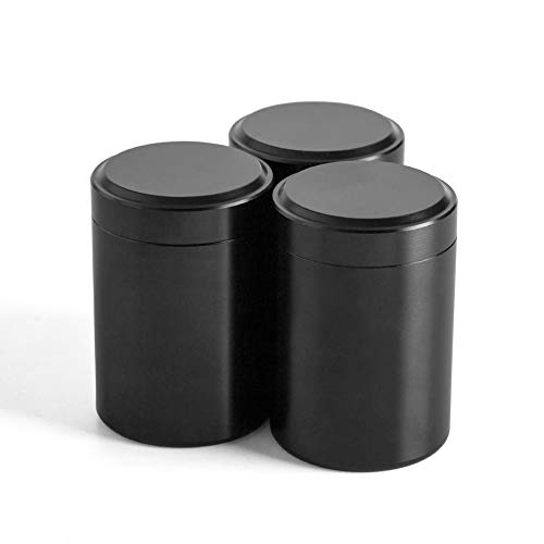 Tea Tins Canister set with Airtight Lids Home Kitchen Canisters for Tea Sugar Coffee Storage Loose Leaf Tea Tin Containers storage nut jarBlack2 3PC2OZ