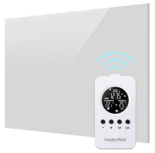 Heidenfeld Infrarot Glasheizung HF-HP120 Weiß + Heidenfeld Thermostat-Fernbedienung - 10 Jahre Garantie - Deutsche Qualitätsmarke - TÜV GS - 300 Watt - 3-8 m² (300 Watt Weiß)