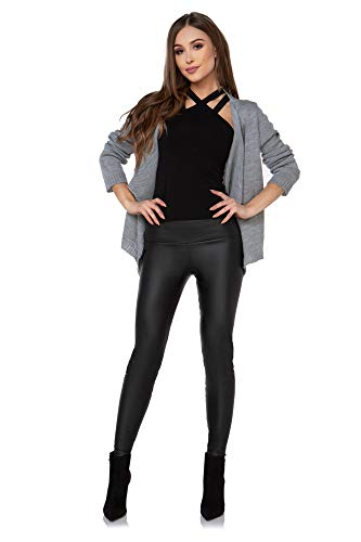 FUTURO FASHION hoge taille legging met zakken imitatie leer nat look fleece binnen maten 8-20 LZK