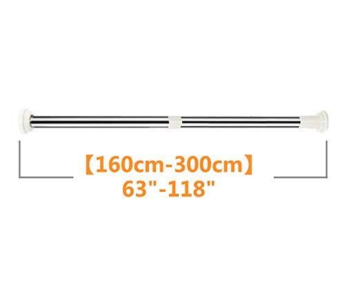 qazwsx Barra de Cortina de tensión sin perforación, Barra de Cortina de Resorte telescópica de Acero Inoxidable para secar la Toalla de Ducha de Armario-a 160-300cm (63-118inch)