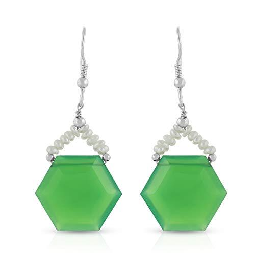 Pendiente de gancho colgante / gota con forma hexagonal de calcedonia verde y perla en plata de ley 925 para mujeres y niñas