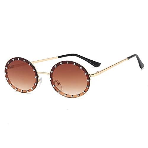 CAONIDAYE Gafas de sol ovaladas para mujer, marco de diamante brillante para mujer,gafas pequeñas de moda para hombre y mujer, dorado, marrón