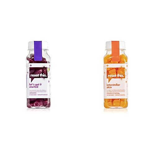 Reset This. - Vitamina en gominolas - Pack de gominolas para la piel y más energía - Gummies con coenzima Q10 y vitamina C - Vegan gummies skin and energy - Interstellar Skin y Let's Get It Started
