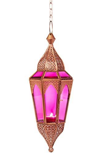 Orientalisches Windlicht Laterne Glas Lalita Pink 41 cm groß | Orientalische Glas Teelichthalter Hängewindlicht mit Henkel orientalisch | Marokkanische Windlichter hängend als Hängewindlichter