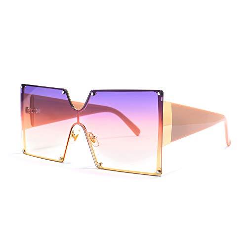 MINCL/Oversized Shield Sunglasses Woman Designer Brand Luxury Shades UV400 Vintage Flat Top Square Futuristic Sunglasses (purple&pink)