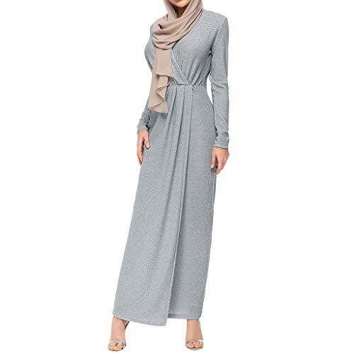 Lazzboy Muslimische Frauen Bescheidenen Maxi-Kleid Abaya Türkei Kaftan Kleidung Spitze Langarm Tunika Dubai Kleider Damen Abendkleid Muslim Knöchellang Hochzeit Gewand Islamische(Grau,2XL)