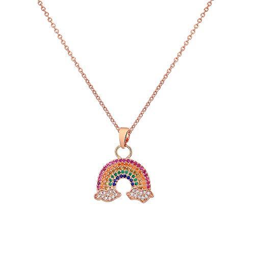 Ouran - Collana con ciondolo a forma di arcobaleno, da donna, placcata in oro rosa e argento, con zirconia cubica, idea regalo per mamma e amici e Rame, colore: Oro rosa, cod. X519-TXL0256-RG