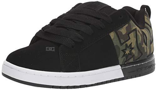DC Men's Court Graffik XE Skate Shoe, Black/camo, 10.5 M US
