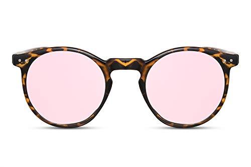 Cheapass Sonnenbrille Rund Braun Schwarz Leopard Pink Verspiegelt UV-400 Festival-Brille Plastik Damen Herren