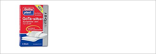 GoTA-silber steril Wundpflaster 7,2x5cm, Spar-Set 2x5St. Als steriler Folgeverband nach chirurgischen Eingriffen oder Unfallverletzungen.