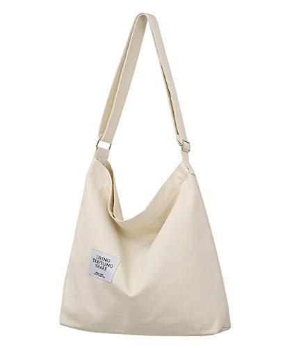 Covelin Women's Retro Large Size Canvas Shoulder Bag Hobo Crossbody Handbag Casual Tote Beige