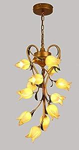 Lustre elegante de estilo floral con 12luces art décor (hojas Metal suspensión clásica forma de flores tulipa de cristal mano para salón diseño de dormitorio boutique blanco cálido 50* 80cm G9* 12