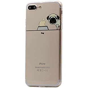Keyihan iPhone 8 Plus/7 Plus Case Cute Pet Dog Puppy Pattern Clear Transparent Super Lightweight Thin Slim Soft TPU Clear Cover Shell for Apple iPhone 8 Plus and iPhone 7 Plus (Pug)