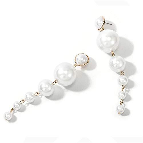Pendientes de perlas de imitación para mujer, diseño de temperamento simple, largo, personalizables, para niñas