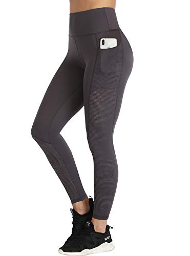RAYPOSE Yoga Workout Pants Frauen Laufen Sport Leggings mit Taschen Hoch taillierte Mesh Bauch Kontrolle Fitness Gym Übung Plus Size Athletic Full Length Leaden-S