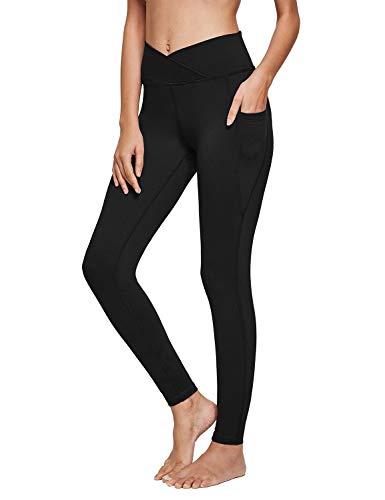 BALEAF Women's Athletic Cross Waist Yoga Pants V Leggings Tummy Control Criss Crossed Workout Leggings Pockets Black L