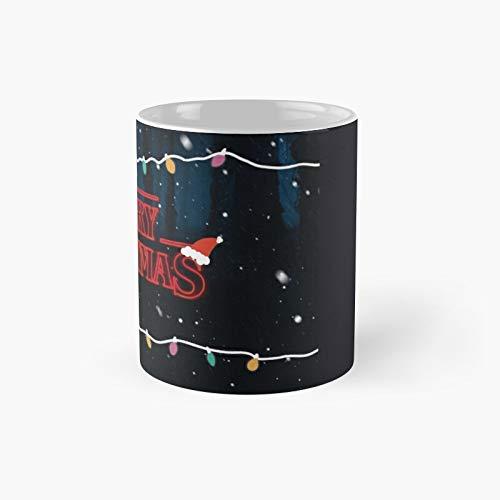 Taza clásica con texto en inglés  Merry Christmas Stranger Things , el mejor regalo, tazas de café divertidas, 11 onzas