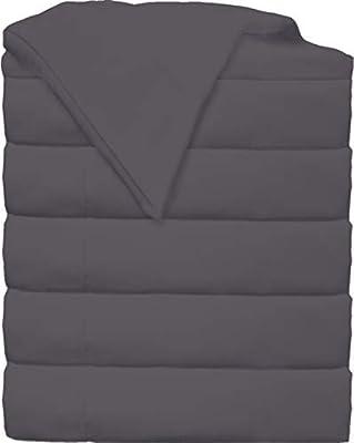 Glarea Microfiber Flat Sheets Bulk Pack (Dark Grey - 6 Pack, Twin)