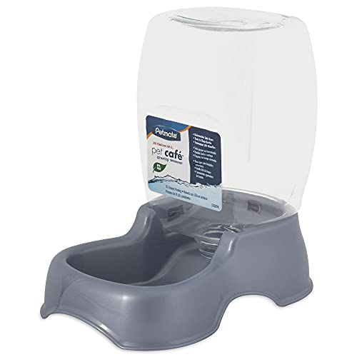 Petmate Pet Cafe Waterer Cat and Dog Water Dispenser, pearl silver gray, 0.25 GAL (24436)