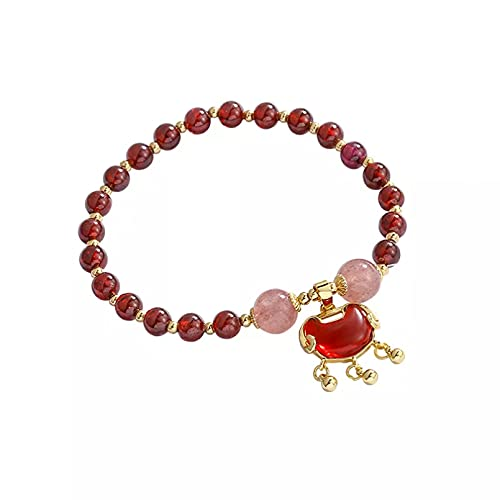 QiuYueShangMao Forma de candado étnico Rojo Vino Cuentas de Granate Natural Fresa Pulseras con Cuentas de Cristal para Mujeres Niñas Joyería Fina Regalos Joyería de la Amistad