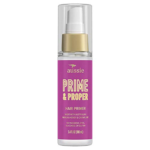 Aussie Prime & Proper Hair Primer Treatment, Heat Protectant Spray, Infused with Australian Manuka Honey and Caviar Lime, Paraben & Dye Free, 3.4 OZ