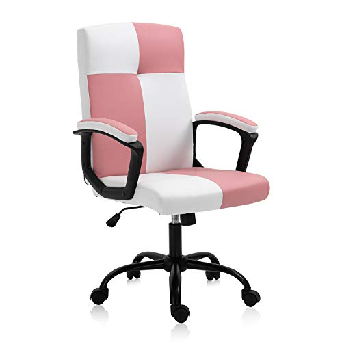 B2C2B Home Office Desk Chair High Back Computer Chair PU Leather Executive Chair Rolling Swivel Adjustable Task Chair with Wheels for Teens Girls, Pink, White
