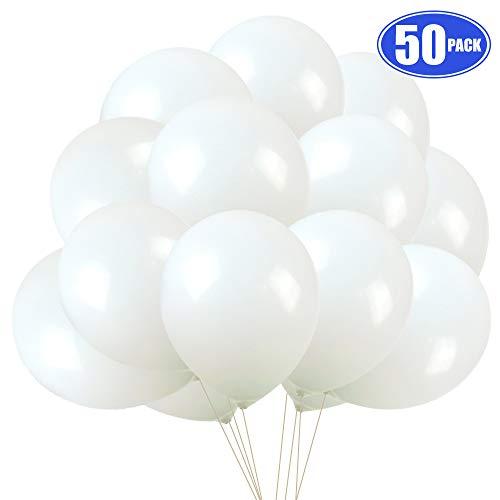 Globos de Cumpleaños Blancos, 50 Piezas Globo Blanco Helio Látex 30 cm para Bodas Aniversario Bautizos Christmas Decoracion Fiesta