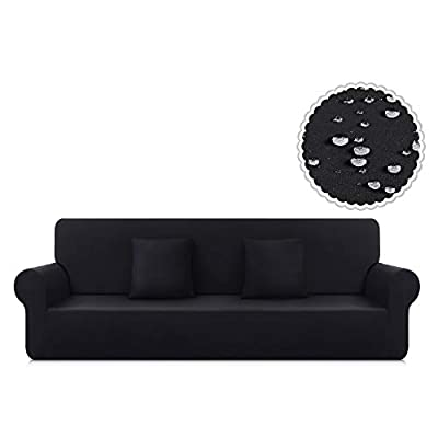 TAOCOCO Couch Cover Stretch Water Resistance One-Piece Sofa Slipcover, Furniture Protector Sofa Cover for 3 Seaters with 2pcs Pillowcases, Polyester-Spandex Fabric Sofa Cover (Large, Jet Black)