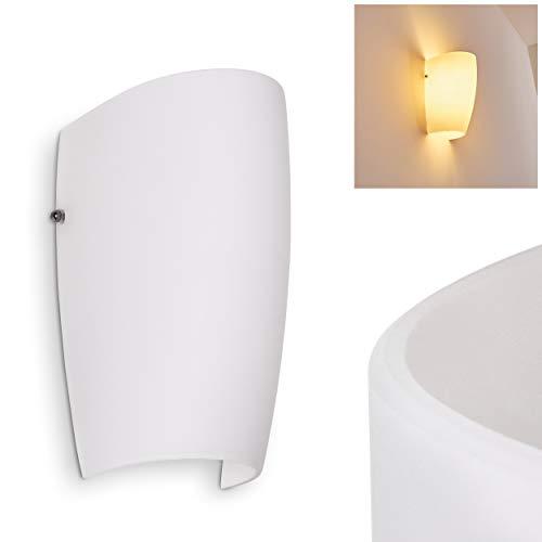 Wandlampe Severo in Weiß, moderne Wandleuchte aus Glas mit Lichteffekt, 1 x E27-Fassung, max. 60 Watt, Innenwandleuchte mit Up & Down-Effekt, geeignet für LED Leuchtmittel