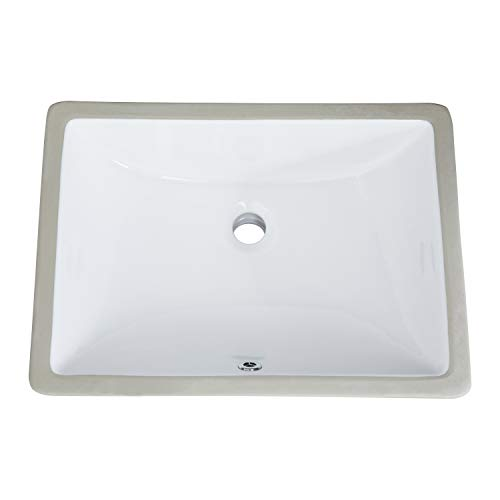 PetusHouse 19x13 Inch Undermount Bathroom Vessel Sink and Pop Up Drain Combo, Rectangle White Ceramic Bathroom Vessel Vanity Sink Washing Art Basin, Overflow Type