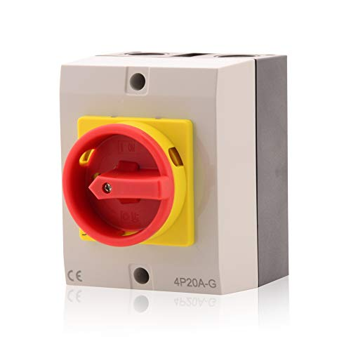Hauptschalter Leistungsschalter 20A, IP 65, 4-polig im Gehäuse, Drehschalter für alle industriellen Anforderungen