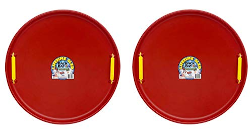 Back Bay Play Lifetime Downhill Saucer Disc Bundle - Snow Sled Pack of 2, for Kids and Adults - Durable Sled Sets for Winter Sledding Outdoors (Cherry Red)