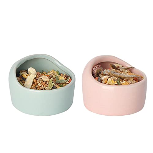 Hamster Ceramic Square Bowl Feeder 2Pcs,Lovely Small Animal No Spill No Turnover Food Water Bowl Dish for Guinea Pig Rodent,M