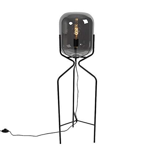 QAZQA Design Design Stehleuchte/Stehlampe/Standleuchte/Lampe/Leuchte schwarz mit Rauchglas - Bliss/Innenbeleuchtung/Wohnzimmerlampe/Schlafzimmer Stahl/Länglich LED geeignet E27 Max. 1