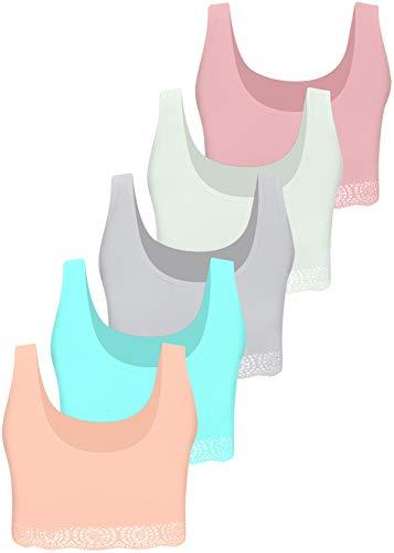 LOREZA 5 Mädchen Bustier mit Spitze Baumwolle Unterwäsche Sport BH - Modell 1 (164-170)