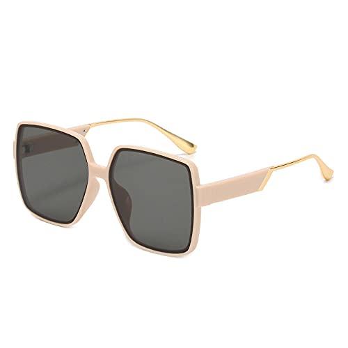 Gafas de sol cuadradas de gran tamaño para mujer, estilo vintage, gradiente de metal, patas de hombre, UV400, muy adecuadas para correr, escalar, ciclismo