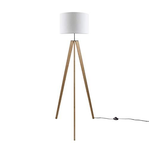 Paco Home Luminaria De Pie De Mesa Pata Vintage LED Salón Estilo Escandinavo E27, Base de la lámpara:Lámpara de piso de madera + Bombilla, Pantalla de lámpara:Blanco (Ø45.5 cm)