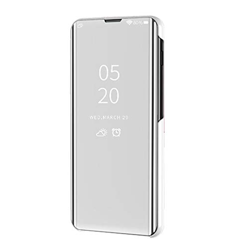 LCHDA Funda de espejo para iPhone 12 Pro Max de 6,7 pulgadas, funda de piel con tapa inteligente con ventana translúcida, funda de policarbonato rígida, función atril, color plateado