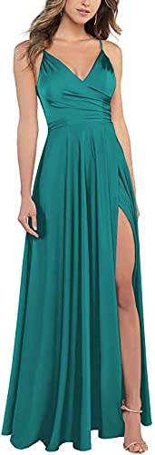 junytDing Women's V-Neck Spaghetti Strap Bridesmaid Dresses Long with Slit Pleated Satin Formal Prom Evening Gown LD0095 Turquoise 16