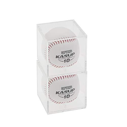 DOUBLE 2 C Baseball Display Case UV Protected Acrylic Clear Cube Baseball Holder Square Memorabilia Display Box(2pack)