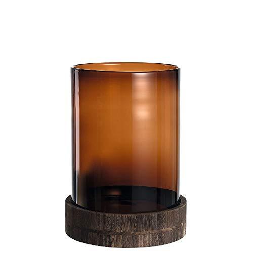 Leonardo Terra Windlicht mit Holz-Sockel, handgefertigter Teelicht-Halter, Kerzen-Halter in Braun, 2er Set, Höhe: 390 mm, 020833