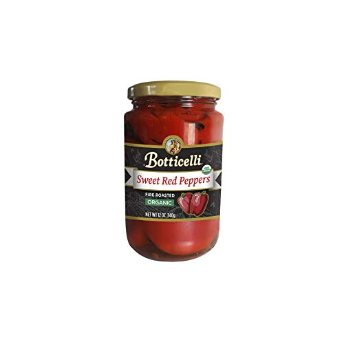 Botticelli Organic Fire Roasted Sweet Red Peppers. Fire Roasted and Marinated, Great for Sauces, Pasta and Sautéing. Made in Small Batches with Natural Ingredients (12oz/340g)