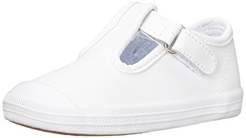 Keds baby-girls Champion Toe Cap T-Strap Sneaker , White Leather, 3 M US Infant