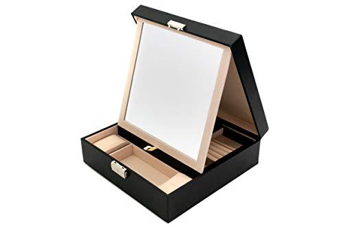 Blu Monaco Black Woven Leather Mirrored Jewelry Box with Lock Drawers - Portable Jewelry Organizer Lockable - Ring Security Box