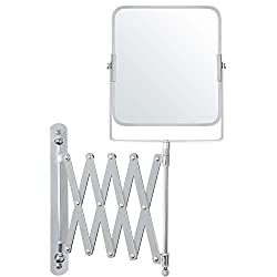STAINLESS STEEL VANITY MIRROR: Our wall mounted mirror rotates 360 degree and is 15.5 x 18.5cm (6.10 x 7.28 inches). One side of the mirror is 3 X magnification and the other side is a standard mirror. This mirror can be extended outwards from 10cm (...