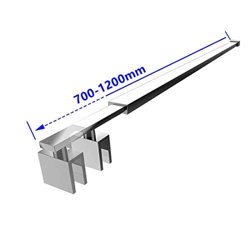 Heilmetz Stabilisierungsstange Eckig Haltestange für Duschwände Stabilisator für Glasdicke 8-10 mm Dusche Duschwand Edelstahl 70-120cm Eckig Haltestange (1 Stück)