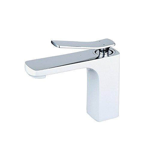 Hiendure® Ottone mount ponte lavandino del bagno miscelatori monocomando vernice bianca rivestimento di cottura, alto