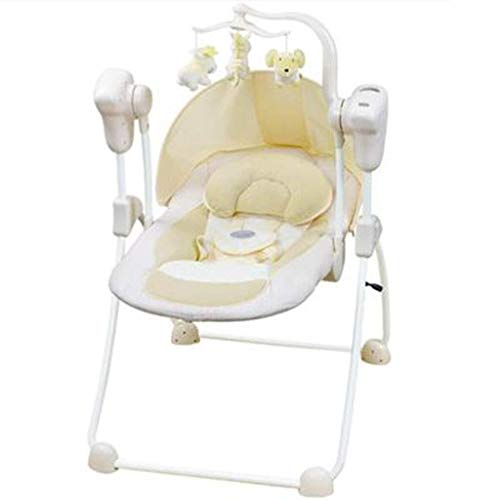 Cheapest Prices! HNSYDS Intelligent Electric Baby Rocking Chair, Creamy-White 0 to 24 Months Baby Ca...
