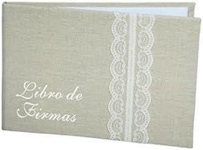 DISOK - Libro De Firmas Yute Bodas Kraft - Libros de Firmas para Bodas Retro, Vintage, Originales